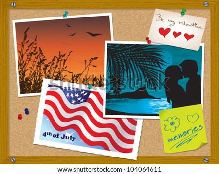 Cork board with photos, postcard, notes, valentine card and pushpins - vector illustration