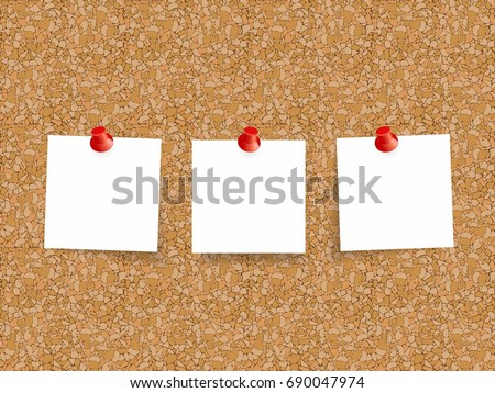 cork board with sheets of paper for notes vector background