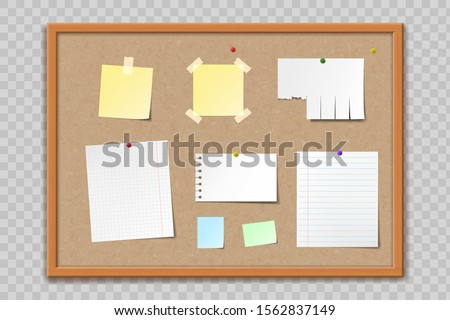 Cork bulletin board texture with wooden frame. Blank template paper sheets and stickers. Isolated on a transparent background. Vector illustration Foto d'archivio ©