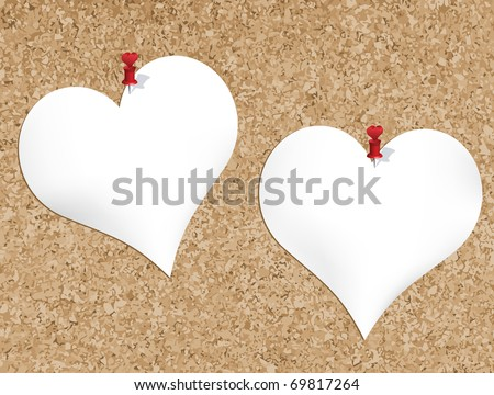 Cork bulletin board with heart shaped notepads (also available jpg version)