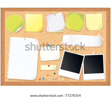 Cork message board with various paper notes and memo stickers - vector illustration , all elements separated