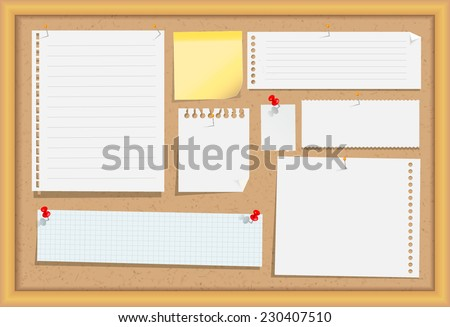 Cork message board with wood frame, different note papers, stick note and pins. Vector illustration.