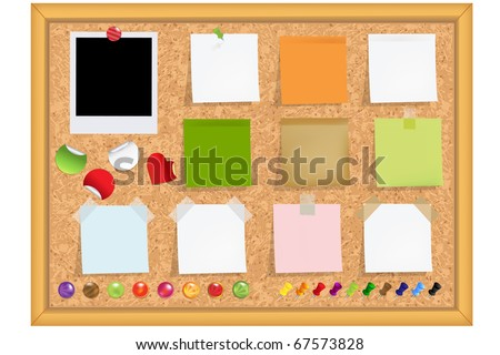 Cork Notice Board With Blank Colorful Sticker Notes And Magnets And Photos, Vector Illustration