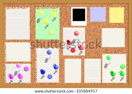 Corkboard with paper notes, memo stickers and polaroid photos - Vector Illustration and fully editable in EPS10
