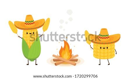 Corn in a Mexican hat. Corn vector. Corn character design. Corn vector on white background. Bonfire vector.