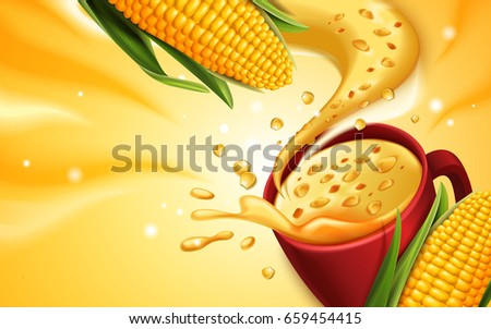 corn soup 3d illustration with special effect, can be used as design elements