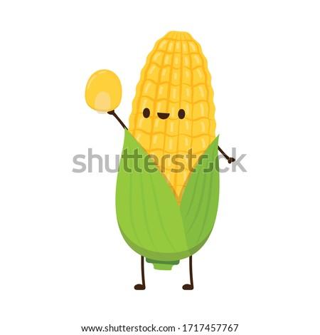 Corn vector. Corn character design. Corn on white background. Corn kernel vector. Сток-фото ©