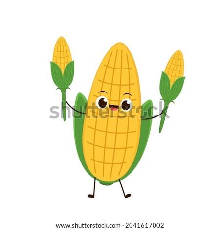 Corn vector. Corn character design. Corn on white background. Corn kernel vector.