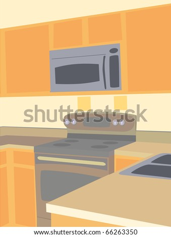 Corner angled view of empty kitchen microwave and stove counter tops