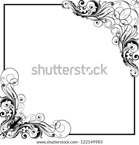 Corner floral swirl design - stock vector