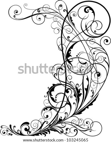 Corner floral.Swirl floral design ornaments, black colored.