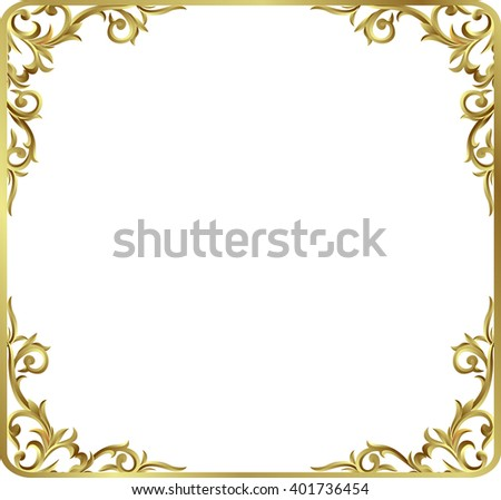 Corner Gold Vintage Baroque Frame Scroll Ornament Engraving Border Floral Retro Pattern Antique Style Acanthus