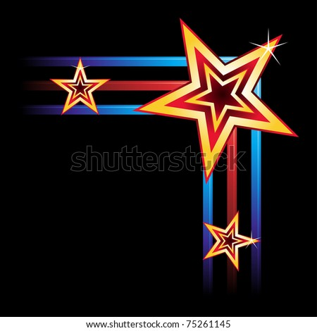 Neon Element History #0: stock vector corner of frame created of stars and neon elements