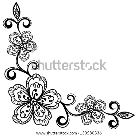 Ornamental Design Flower Corner Ornamental Lace Flowers