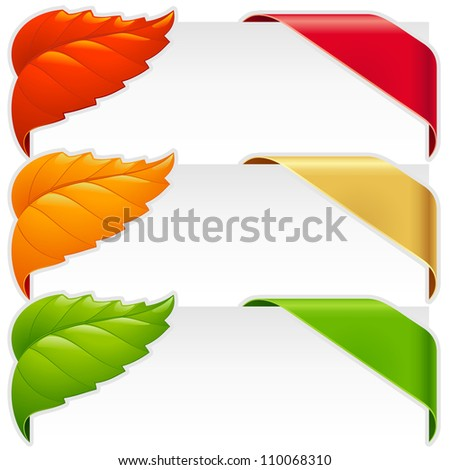 Corner ribbons and fall leaf frames vector set for a new, sale and sold out items