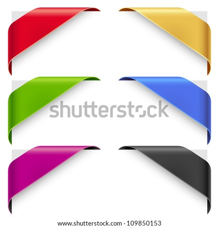 Corner ribbons vector set for a new, sale and sold out items