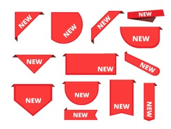 Corner sticker. Promotional curly banners sale merchandise label arrival ribbons vector collection