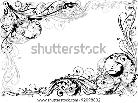 Corner Swirl Floral DesignDetailed Design In Black And Grey