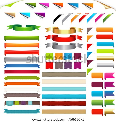 Corners And Ribbons, Isolated On White Background, Vector Illustration