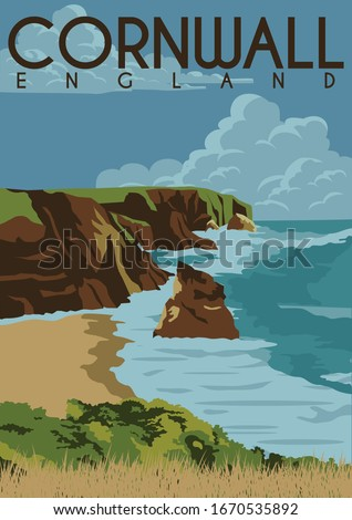 Cornwall England Vector Illustration Background. Travel to Cornwall South West England United Kingdom. Flat Cartoon Vector Illustration in Colored Style.