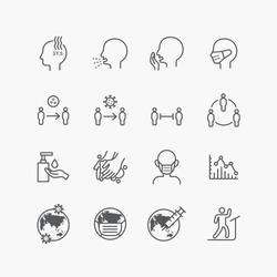 corona covid19 virus icons flat line design vector