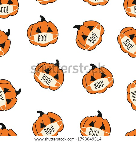 Corona Halloween Pumpkin Seamless Vector Pattern. Pumpkins wearing face masks. Covid 19 virus Halloween background. For Halloween 2020 decoration, fabric, invitation cards, greeting cards, face mask