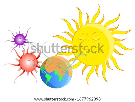 Corona Virus Big Problem for Earth and sun drinking all the water out of Earth vector Illustration, Fight Against Covid-19 Vector Art design Graphics post icon drawing coronavirus background poster