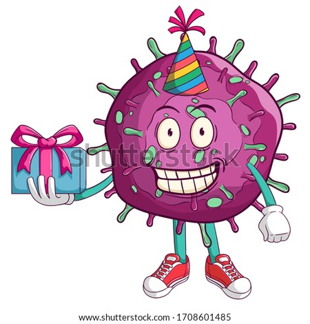 corona virus covid-19 cartoon character celebrate a birthday party with funny smile face