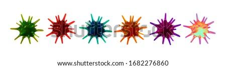 Corona Virus, Covid 19-NCP. Coronavirus nCoV denoted is single-stranded RNA virus. Set of realistic 3d viral cells. DNA and RNA Viruses. SARS-CoV2. Mers-CoV. Chameleon colors. Vector illustration