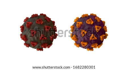 Corona Virus, Covid 19-NCP. Coronavirus nCoV denoted is single-stranded RNA virus. Set of realistic 3d viral cells. DNA and RNA Viruses. SARS-CoV2. Mers-CoV. Vector illustration