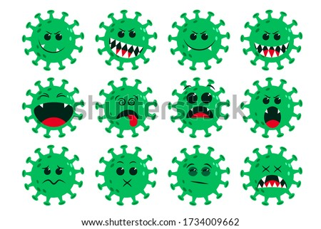 Corona-virus green emoticon vector set. Ncov covid19 corona virus flat cartoon icon and emoji with naughty and dizzy facial expressions isolated in white background. Vector illustration.