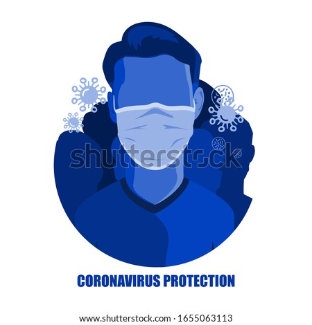 Corona virus in China. Novel corona virus 2019-nCoV, man in white medical face mask. Concept of corona virus quarantine. Observe safety measures in public places. EPS10