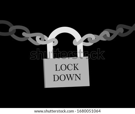 Corona virus Lock down symbol. Corona virus pandemic puts countries on lock down. Lock down concept for virus outbreak .design lock