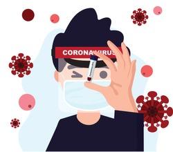 Corona Virus 2019-nCoV Blood Sample a virus cell on red Background. Corona Virus illustration.