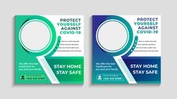 Corona virus or covid-19 campaign  for social media post.Virus warning social media post. Doctor campaging social media. Medical social media post