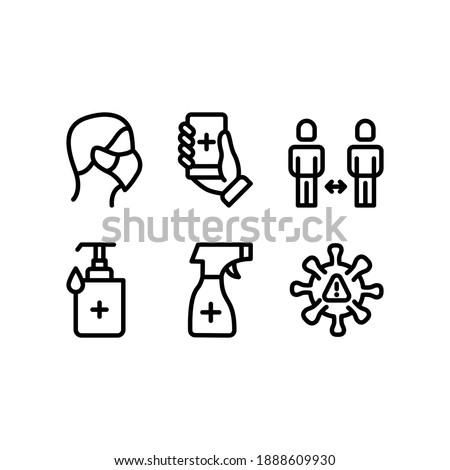 corona virus preventing health protocol line icon set design  Foto stock ©
