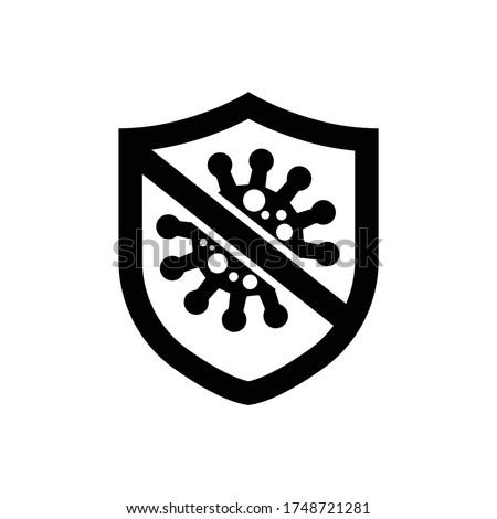 Corona virus shield logo icon Stok fotoğraf ©