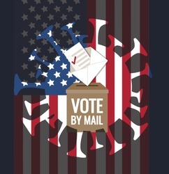 Coronavirus affects presidential election 2020 in USA. Call to vote-by-mail, bulletin, envelope, ballot box, United States of America flag. Covid-19 pathogen silhouette, pandemic impact vector concept