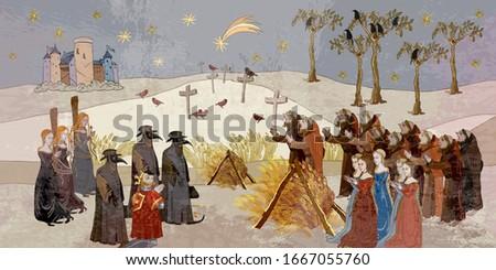 Coronavirus art. Plague epidemic. Terrible doctors. Medieval scene. World pestilence. Ancient book illustration. Middle Ages parchment style Stockfoto ©