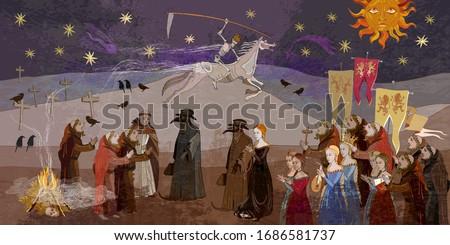 Coronavirus art. Terrible doctors. Plague epidemic. Horseman of death on horse. Middle Ages parchment style. World pestilence. Ancient book illustration. Medieval scene Stockfoto ©