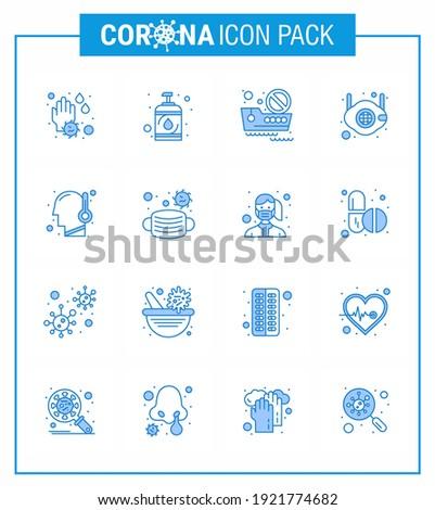 Coronavirus Awareness icon 16 Blue icons. icon included virus; safety; banned travel; medical; face viral coronavirus 2019-nov disease Vector Design Elements Stock fotó ©