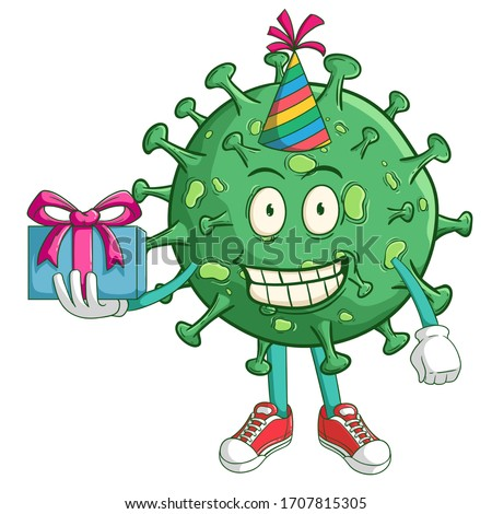 coronavirus cartoon character celebrate a birthday party with funny smile face