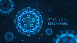Coronavirus cell structure on blue background with sample text. Vector illustration