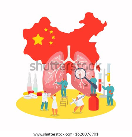Coronavirus china wuhan epidemic disease vector illustration. Virus on China map, flu people in mask unhealthy, medical help needs. Bad death infection, medicine epidemy chinese vaccine.