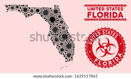 Coronavirus collage Florida map and red grunge stamp seals with biohazard sign. Florida map collage composed with scattered microbe elements. Red rounded outbreak danger seal stamp, Stock photo ©