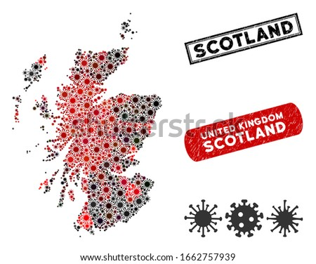 Coronavirus collage Scotland map and grunge stamp watermarks. Scotland map collage composed with randomized red and black pandemic elements. Rectangle watermarks, with unclean texture.