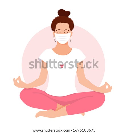 Coronavirus concept. Girl meditates. Love yourself. Keep calm. Stay home. Take care of yourself. Meditating girl with face mask. Relax. Mental health. Meditation. Healthcare. Vector illustration. ストックフォト ©