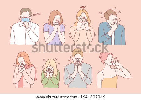 Coronavirus concept.  Illness or allergy set concept. Young men and women have illness. Sick boys and girls have symptoms of allergy. Group of people got infected with virus. Simple flat vector
