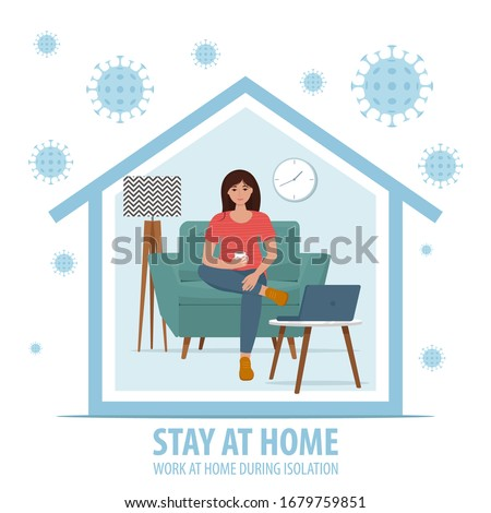 Coronavirus concept. Stay at home during the coronavirus epidemic. Work at home during isolation. Female employee works from home. Vector illustration in flat style