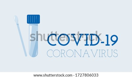 Coronavirus concept, world pandemic of virus. Medical research by pcr test. Blue banner for web Photo stock ©
